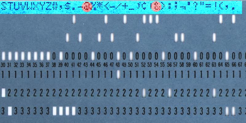 Położenie znaków @ i& nakarcie perforowanej IBM
