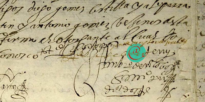Znak @ wksiędze notarialnej
